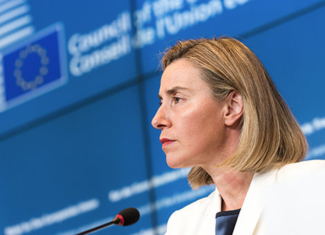 European Union High Representative Federica Mogherini speaks during a media conference after a meeting of EU foreign ministers at the EU Council building in Luxembourg, on Monday, June 20, 2016. EU foreign ministers met Monday to discuss, among other issues, the situation in Libya. (AP Photo/Charles Caratini)